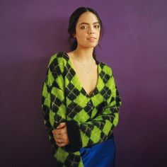 Vintage Kawaii Women Green Plaid Cropped Cardigans Short Loose Casual Preppy Style Thick Button Front Sweaters