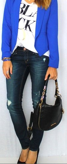 blue blazer and jeans :)