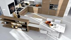 Lacquered fitted kitchen with integrated handles Brava Collection by Cucine Lube Diy Kitchen Decor, Kitchen Interior, Kitchen New York, Contemporary Kitchen Cabinets, Kitchens And Bedrooms, Best Kitchen Designs, Kitchen Cabinet Doors, Furniture Design, House Design