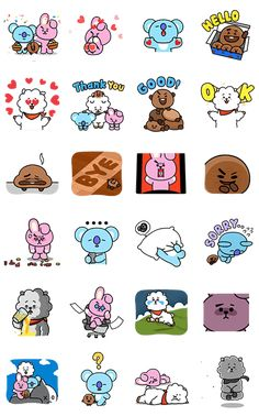 RJ, KOYA, COOKY, and SHOOKY unite in part two of this energetic sticker set for more chemistry when you chat with friends or that special someone. Tumblr Stickers, Diy Stickers, Printable Stickers, Planner Stickers, Kpop Diy, Korean Stickers, Bullet Journal Printables, Bts Drawings, Line Friends