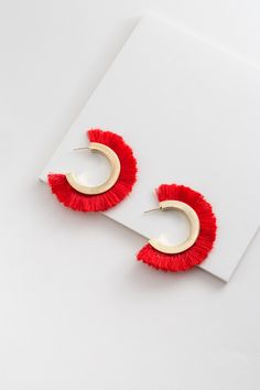 Fanned Tassel Hoop Earrings | Red $12 // Bold and gold, red tassel hoop earrings.