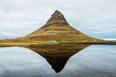 """Peak Reflections - Kirkjufell mountain reflected in the sea on the coast of Iceland's Snæfellsnes peninsula - Big World Art - """"Share this Pin!"""""""