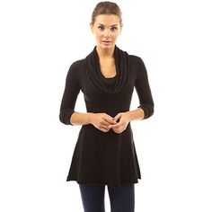 Cowl Neck A-Line Tunic Sweater