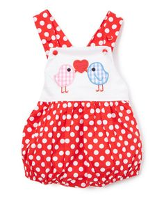 Look what I found on #zulily! Red & White Polka Dot Birds Bubble Romper - Infant & Toddler #zulilyfinds