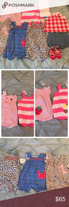 NWT 3 month summer bundle All items NWT 5 one piece outfits, 1 3 pack of Koala Baby short sleeve side snap shirts and short and tank top outfit with matching shoes. All clothes are Carter's size 3 months & the shoes are Carter's size 0-3 months. Great for shower or Christmas gifts 🎁 Matching Sets
