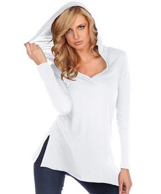 Look at this Kavio! White V-Neck Hooded Tunic on #zulily today!