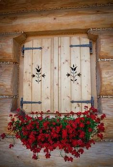 porch window shutters for winter. Log Cabin Shutters and Swiss Chalet, Alpine Chalet, Log Cabin Homes, Log Cabins, Window Boxes, Cabins In The Woods, Flower Boxes, Geraniums, Windows And Doors