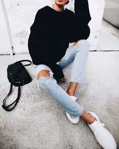 simple sweater and denim look