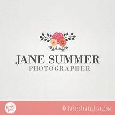 Custom Premade Fashion Photography Logo Design  floral logo