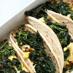 (5 Ingredient) Crispy Kale and Smoked Gouda Scrambled Egg Tacos Recipe Lunch, Breakfast and Brunch with tortillas, olive oil, large eggs, water, lacinato kale, smoked gouda