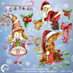 Un pack de Clipart de Navidad de dibujado a mano y acuarelas elementss Navidad para todos los proyectos de Navidad! Gatito en un regalo, hada de Navidad o un ángel de Navidad, acebo de la Navidad, dulce de caña, ornamentos de la Navidad y Santa Claus! Usted será capaz de crear