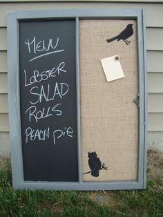 Vintage window chalkboard burlap corkboard message center. $50.00, via Etsy. My window