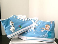 Frozen - Adult Size - Elsa & Olaf Original Converse Custom Made Shoes on Etsy, $86.12