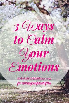 I've found that when my emotions run wild, the fear flares up. When the fear seems out of control, everything seems impossible. So to quiet the fear, I have to calm the emotions. Here are 3 ways to calm your emotions.