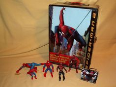 SPIDER MAN LOT 7 PC STORAGE CASE ORNAMENT LUNCHBOX 5 ACTION FIGURES LOOSE #Unbranded