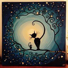 Afbeeldingsresultaat voor positivo y negativo arte con gatos I Love Cats, Crazy Cats, Black Cat Art, Moon Art, Cat Drawing, Art Plastique, Painted Rocks, Art Projects, Mandala
