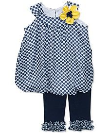 Rare Editions Baby Girls' 2-Piece Dot Tunic & Leggings Set
