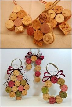 Creative and Easy Christmas Crafts for Kids – Wine Cork Ornaments - Kinder Weihnachten Wine Cork Wreath, Wine Cork Ornaments, Wine Cork Art, Easy Christmas Ornaments, Christmas Crafts For Kids, Simple Christmas, Holiday Crafts, Wine Corks, Wine Cork Christmas Trees