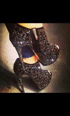 Black glitter booties