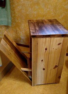 Distressed Reclaimed Wood Crate Tilt Out Trash Bin