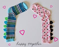 Dinosaur socks tutorial from happy together Sewing For Kids, Diy For Kids, Gifts For Kids, Silly Socks For Kids, Boys Socks, Sewing Crafts, Sewing Projects, Sock Crafts, Sewing Diy