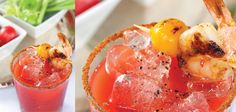 """SandraLee.com: """"Nothing is better for brunch than a Bloody Mary made with tomato juice and spicy seasoning, but this summer use a grilled shrimp and tomato as garnish to make it an even more tempting warm weather cocktail."""""""