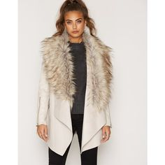 Cream Faux Fur Fallaway Jacket (9.570 RUB) ❤ liked on Polyvore featuring outerwear, jackets, faux fur jacket, fake fur jacket, pink jacket, cream jacket and cream faux fur jacket