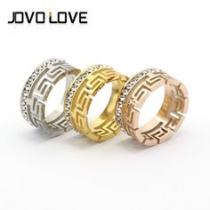 The Great Wall Hollow Out Crystal Rings Fashion Jewelry Stainless Steel Rings