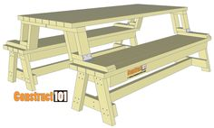 Folding picnic table bench beautiful diy folding bench picnic table bo plans 6 folding portable convertible bench table plans beautiful diy pallet projects how pallets a just used for convertible picnic table and bench Folding Picnic Table Plans, Build A Picnic Table, Wooden Picnic Tables, Wooden Side Table, A Table, Wood Bench Plans, Garden Bench Plans, Desk Plans, Workbench Plans Diy