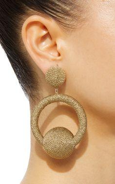 India La La Hoop Earrings by Rebecca de Ravenel Beaded Rings, Beaded Jewelry, Handmade Jewelry, Jewelry Necklaces, Fabric Jewelry, Jewelry Art, Jewelry Design, Statement Earrings, Women's Earrings