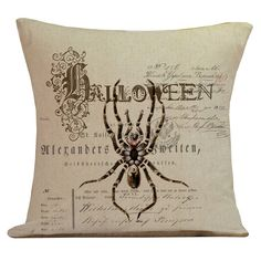 Pillow Cushion French Style Halloween with Spider on Old Document Burlap Cotton Throw Pillow Cover HA-75 on Etsy, $35.00