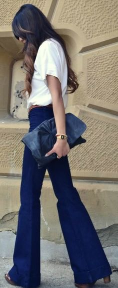 High-Waisted Denim + White Tee
