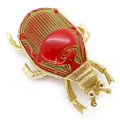 VINTAGE EGYPTIAN REVIVAL SCARAB GLASS BROOCH PIN - LARGE ART DECO BROOCH