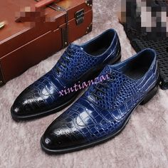 Chic Men Flat Alligator Pattern Lace up Cow Leather Business Crack Shoes Wedding #Unbranded #WingTip