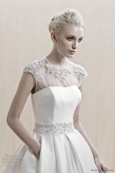 Tea length wedding dress blue by enzoani