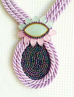 https://www.etsy.com/listing/246072377/pastel-necklace-purple-necklace-mint #pastel #mint #purple #green #rope #necklace #beaded #flower #gentle #tender #bold #chunky #rhinestones #collar