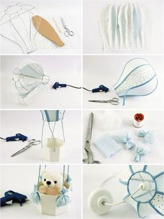hot air balloon themed nursery diy lamp teddy bear basket…but no instructions :( - Decor IdeasThe hot air balloon theme is unisex and perfect for both boys and girls.Be inspired by our DIY baby room decor ideas that will complete the hot air balloo Diy Nursery Decor, Baby Nursery Diy, Baby Room Diy, Baby Room Decor, Nursery Themes, Themed Nursery, Diy Baby, Room Themes, Diy Hot Air Balloons