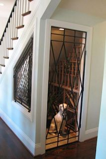 Under Stairs Dog House, Under Stairs Pantry, Space Under Stairs, Storage Under Stairs, Under Staircase Ideas, Foyers, Stairway Storage, Dog Spaces, Open Trap