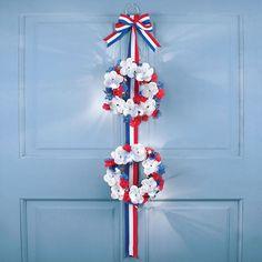 Patriotic of July Red White & Blue Floral Double Wreath Patriotic Party, Patriotic Decorations, Front Door Decor, Wreaths For Front Door, American Flag Bunting, Spring City, Door Displays, Collections Etc, Outdoor Wedding Decorations