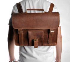 Men's Vintage Handmade Leather Briefcase 15.6 by camerasbagstraps, $129.00