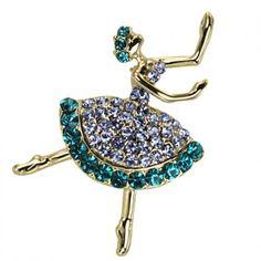 Ballerina Crystal Brooch Pin - Blue