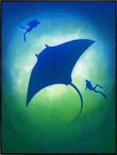 Arraia, Azul, Homem, Contato, Natureza, Vida, Marinha, Mar, Oceano