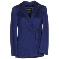 Giorgio Armani Blazer ($840) ❤ liked on Polyvore featuring outerwear, jackets, blazers, blue, blue blazer jacket, logo jackets, double breasted jacket, long sleeve jacket and multi pocket jacket