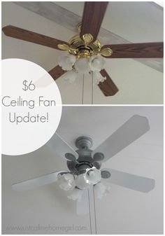 Before and after outdated ceiling fan painted an updated with dads fans paint white and then metal with bronze spray paint aloadofball Images