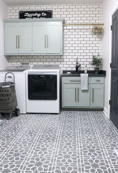 THE BEST LAUNDRY ROOM TILE DESIGN IDEAS - Because self adhesive floor tile is extremely easy to install, it is a great alternative for the floor. The installation process can be done by the homeowner themselves and will easily be finished within a day. Painting Ceramic Tile Floor, Tile Floor Diy, Painting Tile Floors, Painted Tiles, Bathroom Floor Tiles, Kitchen Tile, Painted Floors, Kitchen Floor, Kitchen Cabinets