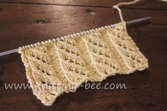 Free oblique openwork rib stitch knitting pattern. Abbreviations: k= knit p= purl yo = yarn over ssk = slip, slip, knit slipped stitches tog. A decrease. Multiples of 8 plus 1 Row 1: p1, *p1, yo, ssk, k1, yo, ssk, p2; rep from * Rows 2, 4 and 6: *k2, p5, k1* rep from * to…