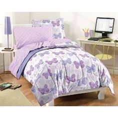 Butterfly Prints Purple and White Comforter Set :           Butterfly Twin Mini Bed in a Bag - Multi (NEW in Original Packaging) Lovely springtime butterflies will get you all a flutter with this beautiful Butterfly Lane complete bedroom ensemble in multiple shades, ranging from pale lilac to deep orchid, accented with tones of mag...  **Read more Details : http://gethotprice.com/appin/?t=B005N1PF4M