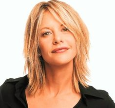 choppy layered medium length cuts 2014 | medium hair Meg Ryan with extreme layers and long side bangs picture