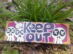 Hand painted wooden keep out sign keep out skull sign skull