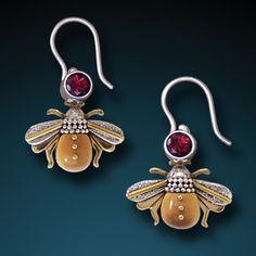 Sterling Silver Mammoth Ivory Bee & Garnet Earrings